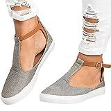 Flat Sandals,Hemlock Women Wedge Sandals Buckle Platforms Low Heel Boat Shoes (US:7, Grey)