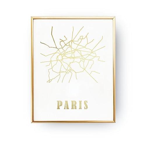 Real Gold Foil Print Paris Metro Map Metro Map Fashion Art - Paris metro map print