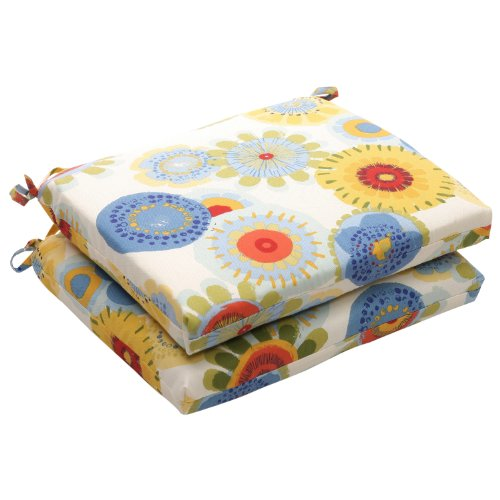 Pillow Perfect Indoor/Outdoor Floral Square Seat Cushion, 18.5 in. L X 16 in. W X 3 in. D, Multicolored (D Seat Cushions Outdoor Square)