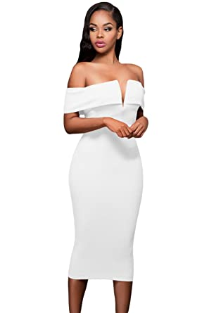 Anloli Women s Solid Sexy Backless V Neck Off The Shoulder Party Evening  Bodycon S White 221ce6186027