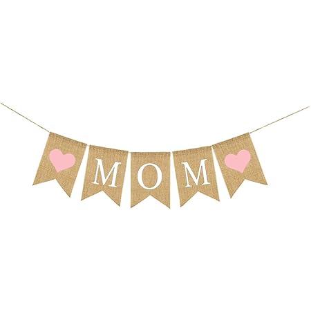 Amosfun MOM Burlap Banner Día de la Madre Fiesta de ...