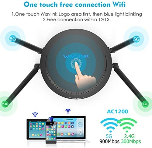2.4Ghz Smart WiFi Router AC1200 Long Range Smart WiFi Box with 4x5Dbi External Antennas for Home Gaming Xbox Playstation PC 1200Mbps Gigabit Wireless WiFi Router WAVLINK High Speed Dual Band 5Ghz
