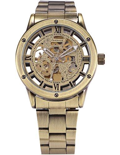 HELMASK watch - Alloy Bronze Round man mens men boy Casual Analog Mechanical Automatic Wrist Watch Analog Mechanical Casual Watch