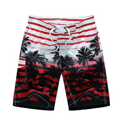 Sevem-D Striped Quick Dry Beach Wear Men Boardshorts Plus Size Board Shorts Male Beachwear Shorts Red XXXL