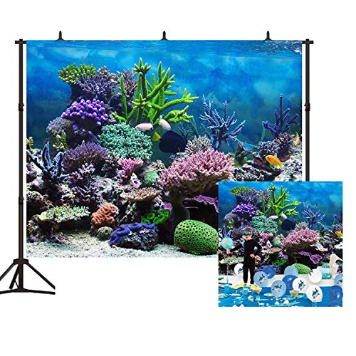 Beautiful Coral Reefs Background 7X5ft Tropical Ocean Underwater Ecosystem Photography Backdrop for Photo Studio Party Kids Room Props BT007
