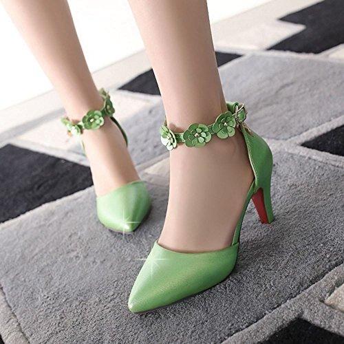women Fashion Green strap Ankle Closed Flowers Heel High Toe TAOFFEN Sandals ATOdqT