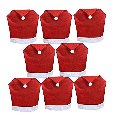Gugou Santa Hat Chair Covers, Set of 8 PCS Santa Clause Red Hat Chair Back Covers Kitchen Chair Covers Sets for Christmas Holiday Festive Decor
