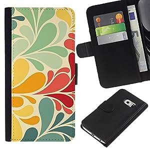WINCASE ( No Para Normal S6 ) Cuadro Funda Voltear Cuero Ranura Tarjetas TPU Carcasas Protectora Cover Case Para Samsung Galaxy S6 EDGE - retro en colores pastel rústico pintado floral