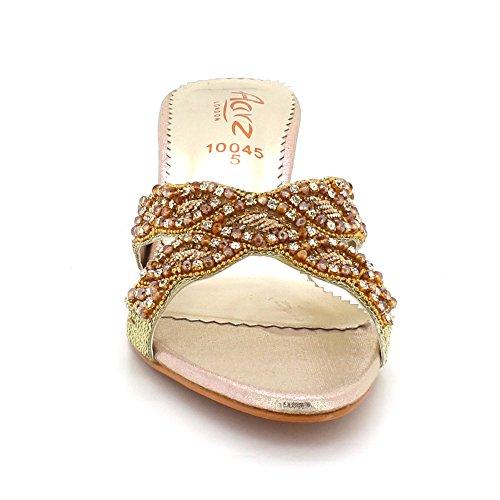Confort compensé Talon Femmes De Glisser Fête mariée Mariage Strass Dames sur Taille Bas Soir Or Sandales Diamante Chaussures SSqf0R