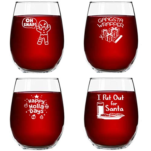 Christmas Puns Funny Stemless Wine Glasses (Set of 4)- 15 oz - Cheerful Holiday Party Cups- Naughty and Hilarious Gift Exchange Idea for Dirty Santa or White Elephant (Ideas Gift Party Exchange)