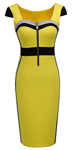 HOMEYEE Women's Voguish Colorblock Square Neck Party Dress B272