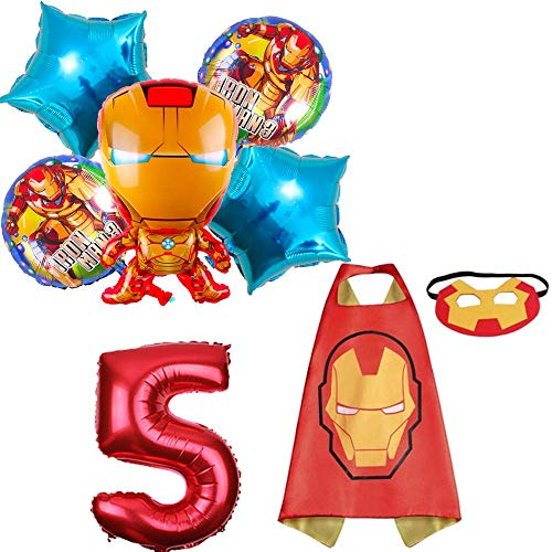 CuteTrees Super Hero Iron Man 5th birthday party balloons party supplies party decoration birthday decorations and super hero cape and felt mask and number balloons 8 pcs]()