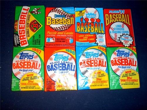 - 120 Old Factory Sealed MLB Baseball Cards 1987 and Up. Topps, Bowman, Fleer and Donruss. Fresh Un-opened Packs