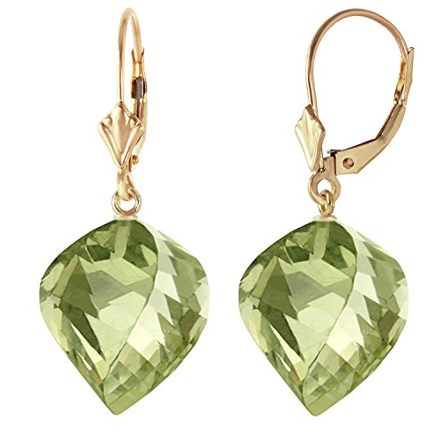 26 CTW 14k Solid Gold Leverback Earrings Twisted Briolette Green Amethyst