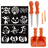 1 X 2 Halloween Pumpkin Carving Stencil Kits 12 Patterns Total w/ Tools
