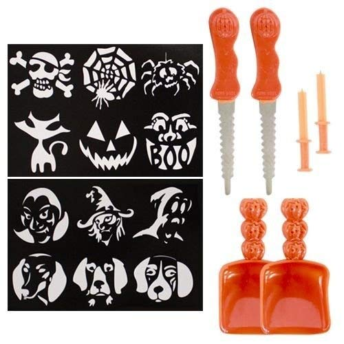 1 X 2 Halloween Pumpkin Carving Stencil Kits 12 Patterns Total w/ Tools -