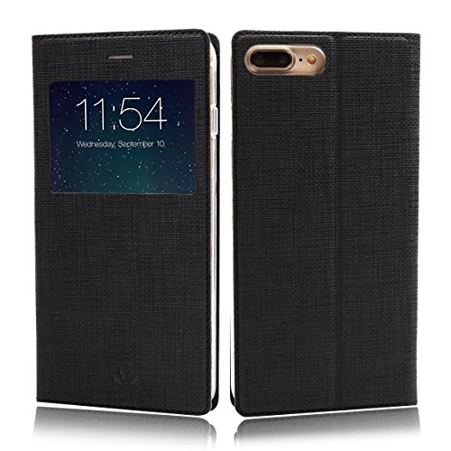 iPhone 8 Case, iPhone 7 Case, Wallet Case Cover View Window Leather PU Flip Folio Stand Kickstand Card Holders Slots Magnetic Closure TPU Slim Protective Bumper Feitenn for iPhone 7 iPhone 8 - Black
