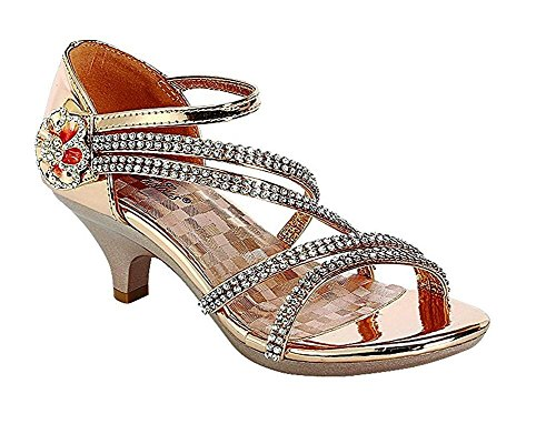 Little Girls Rhinestone Low Heel Platform Dress Sandals Shoes (3 M US Little Kid, Rose Gold_48) -