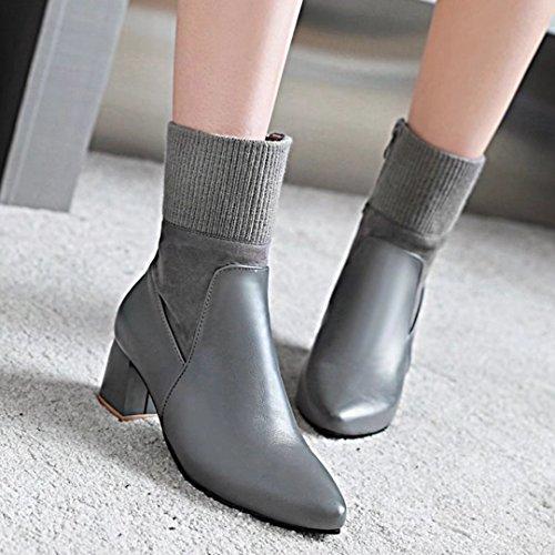 AIYOUMEI Damen Winter Blockabsatz Flickwerk Stiefeletten mit Gewirke und 6cm Absatz Modern Ankle Boots Grau