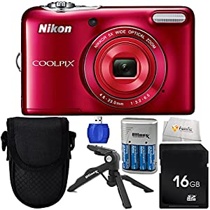 Nikon COOLPIX L32 Digital Camera (Red) Bundle Includes 4x AA (3150mAh) NiMH Rechargeable Batteries with Rapid Travel Charger + 16GB SD Memory Card + High Speed Card Reader & More!