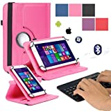 EEEKit 2in1 Office Kit for 7 Inch Tablets ASUS MeMO Pad 7 ME170CX,DeerBrook 7 DB Plus Quad Core,Rotating Folio Stand Case,Wireless Bluetooth Keyboard