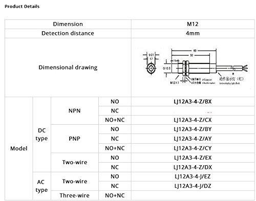 Taiss//3D-Drucker Induktiver N/äherungssensor-Erkennungsschalter NPN NO DC6-36V 4mm Schlie/ßer-N/äherungsschalter LJ12A3-4-Z//BX