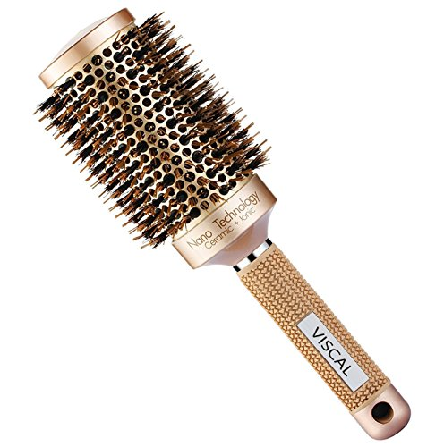 Round Ceramic (VISCAL Nano Thermal Ceramic & Ionic Round Barrel Hair Brush Large Round Hair Brush with Boar Bristle 3.3 inch, for Hair Drying, Styling, Curling, Adding Hair Volume and Shine, Gold Brown.)