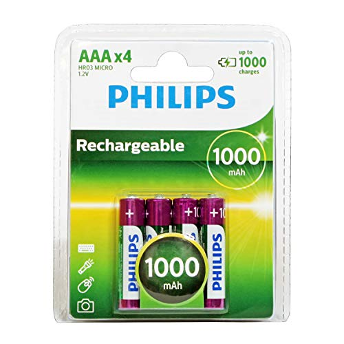 Philips MultiLife NiMH Rechargeable AAA Batteries 1000mAh 4PK ()