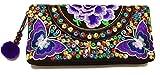 Wallet by WP Embroidery Butterfly Flower Zipper Wallet Purse Clutch Bag...