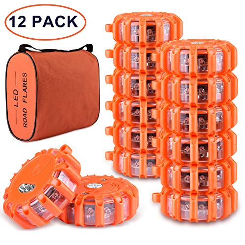 Tobfit 12 Pack LED Road Flares Emergency Lights Roadside Safety Beacon Disc Flashing Warning Flare Kit with Magnetic Base & Hook for Car Truck Boats | 9 Flash Modes (Batteries Not Included) (12)]()