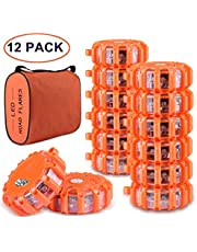 Tobfit 6 Pack LED Road Flares Emergency Lights Roadside Safety Beacon Disc Flashing Warning Flare Kit with Magnetic Base & Hook for Car Truck Boats   9 Flash Modes (Batteries Not Included) (6)