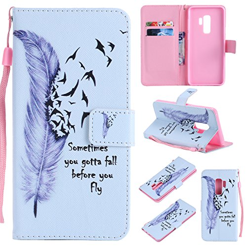 Galaxy S9 Plus Case, Linkertech PU Leather Flip Wallet Pouch Case Cover Kickstand Feature with Card Slots and Wrist Strap for Samsung Galaxy S9 Plus (2018) - Feather