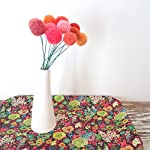 Orange-and-Coral-Felt-Flowers-Pom-pom-Flower-Fake-Flowers-Marigold-Bouquet-Faux-Flower-Arrangement-Wool-pom-poms-Yarn-Billy-Balls