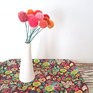 Orange and Coral Felt Flowers. Pom pom Flower. Fake Flowers. Marigold Bouquet. Faux Flower Arrangement. Wool pom poms, Yarn Billy Balls 40