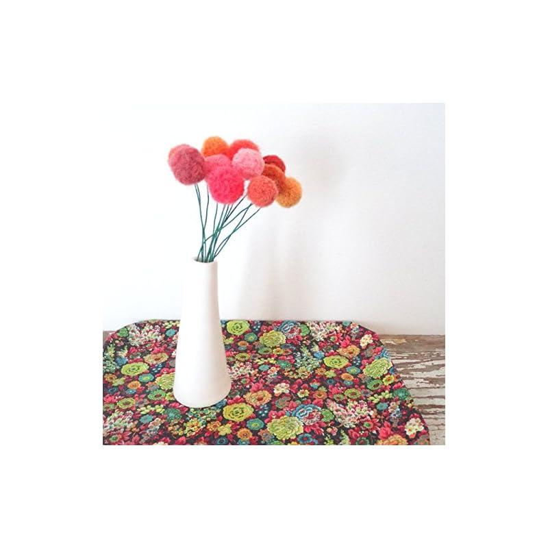 silk flower arrangements orange and coral felt flowers. pom pom flower. fake flowers. marigold bouquet. faux flower arrangement. wool pom poms, yarn billy balls