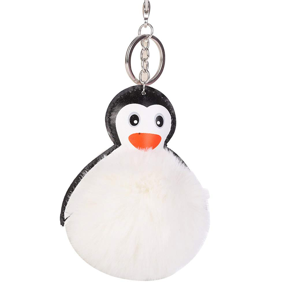 Shineweb Furry Penguin Pom Pom Ball Key Chain Key Ring Keyring Keyfob Handbag Pendant Keychain Charm Creamy White