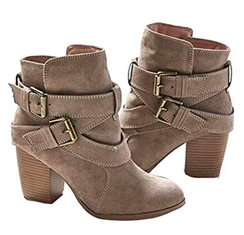 Donna Scarpe Regno Unito Heel Matte 's Casual Da Stivale Code 5 Deed S Buckles Short Work Big Donna' Boots 8UzEH