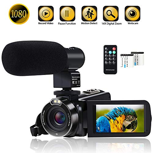 Video Camera Camcorder Digital YouTube Vlogging Camera Recorder FHD 1080P 24.0MP 3.0 Inch 270 Degree Rotation Screen 16X Digital Zoom with Microphone, Remote Controller and 2 Batteries for Sports
