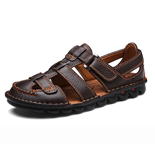 (ZHShiny Men Summer Sports Sandals Leather Outdoor Trail Beach Shoes Casual Size 11 12 13 Dark Brown)