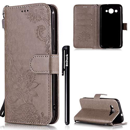 BtDuck HUAWEI Y3 2018 Case,HUAWEI Y3 2018 Leather Case Clear Phone Flip...