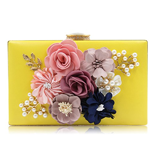 Mn&Sue Flower Pearl Beaded Evening Clutch Women Wedding Purse Bridal Bag Party Handbag Rectangle Shape (Yellow) ()