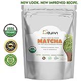 Dodjivi Matcha Green Tea Powder, Premium Grade 100g USDA & Vegan Certified Matcha Tea – No Whisk, Easy to Mix 100% Organic Matcha, Powerful Antioxidant Drink – For, Baking, Shakes, Lattes, Smoothies