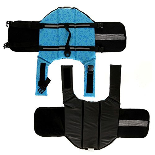 Image of HAOCOO Dog Life Jacket Vest Saver Safety Swimsuit Preserver with Reflective Stripes/Adjustable Belt Dogs?Blue Bone,M