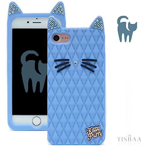 iPhone 7 Plus Case, TISHAA Cute 3D Bling Bling Rhinestones Cat Ears Cute Whiskers Protective Soft Case Skin for Apple iPhone 7 Plus (2016) (Light -