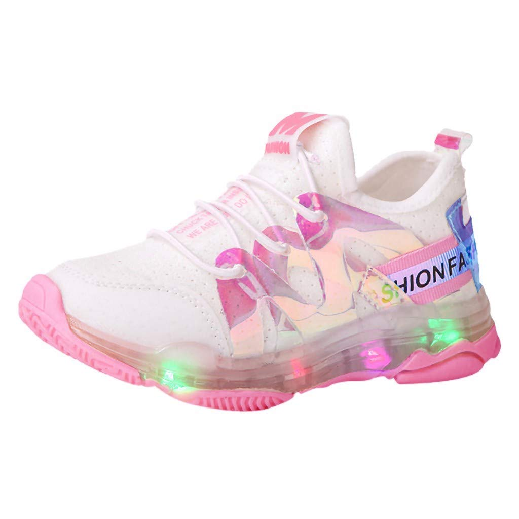 Led Light Shoes Sneakers for 1-6 Years Toddler Kids Baby,Running Soft Luminous Shoes (Recommended Age:15-18Months, Pink) by sweetnice baby shoes