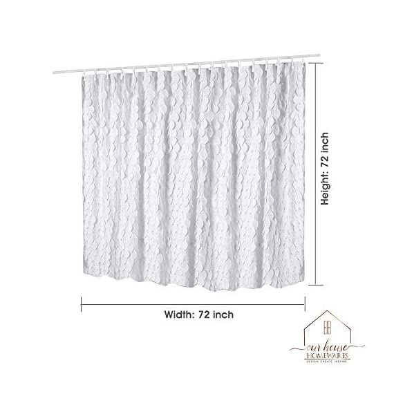 White Shower Curtain & Liner with 12 Shower Curtain Hooks. 72 x 72 Inch Eco Friendly 100% Polyester Fabric Farmhouse Shower Curtain Bathroom Set. Farmhouse Bathroom Décor by OHH! - 🚿 STYLISH: Elegant ruffle design that will suit any style; farmhouse, rustic, chic, modern or coastal. 🚿 ALL IN ONE SET: 1 x white shower curtain, 1 x white shower curtain liner and 12 x shower curtain rings. Don't waste time shopping around for individual items. 🚿 ECO FRIENDLY: Both liner and curtains are made from 100% polyester waterproof fabric meaning no vinyl smell. - shower-curtains, bathroom-linens, bathroom - 51FwJgzpFyL. SS570  -