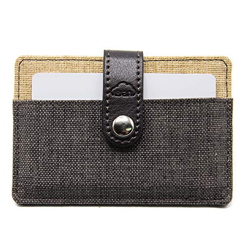 Fashion Series - Card Holder, 2 Pockets for 6-12 Cards, Secure with PU Leather Strap, Slim Fabric Design (Black Beige)