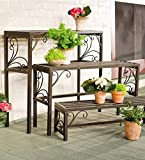 Plow & Hearth Set Of 3 Nesting Plant Stands With Decorative Scrollwork - Indoor/Outdoor Powder Coated Tubular Steel - Versatile Light Golden Brown Finish - Largest is 35¾''W x 11''D x 29½''H - Set of 3