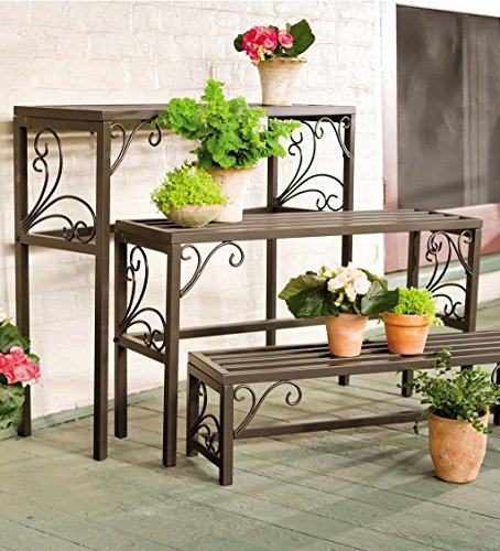 (Set Of 3 Nesting Plant Stands With Decorative Scrollwork - Indoor/Outdoor Powder Coated Tubular Steel - Versatile Light Golden Brown Finish - Largest is 35¾
