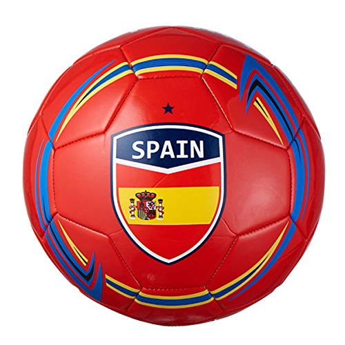 Machine Stitch Soccer Ball with Spain Country Name Design Size: 5 (Red/Orange)